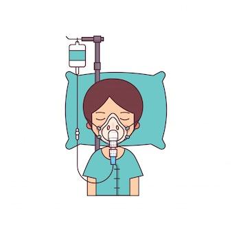 Hombre en coma acostado en la cama en el hospital.