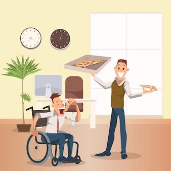 El hombre come pizza en la oficina. feliz compañero de trabajo discapacitado
