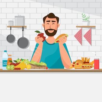 El hombre está comiendo comida sana y comida chatarra