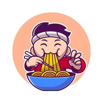 Hombre comiendo fideos ramen con dibujos animados de palillos