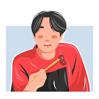 Hombre comiendo una ilustración de vector plano de bistec