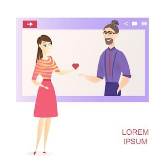 Hombre como mujer red de redes sociales banner de sitio web