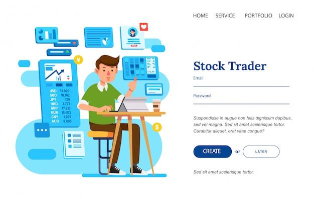Hombre como stock strader sentado en una silla trabajando con tableta en la mesa para la plantilla de página de destino