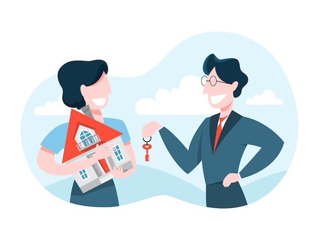 Hombre compra casa. agente de bienes raíces con llave