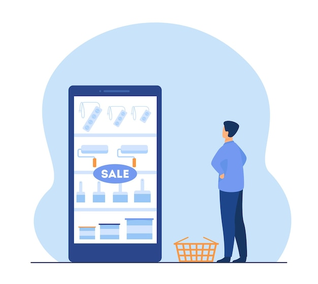 Hombre comprando herramientas de pintura en línea. compras por internet, rodillos, pinceles. ilustración de dibujos animados