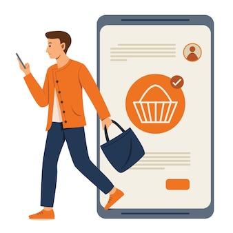 El hombre está comprando en línea en el teléfono móvil con el gran teléfono inteligente ha vuelto