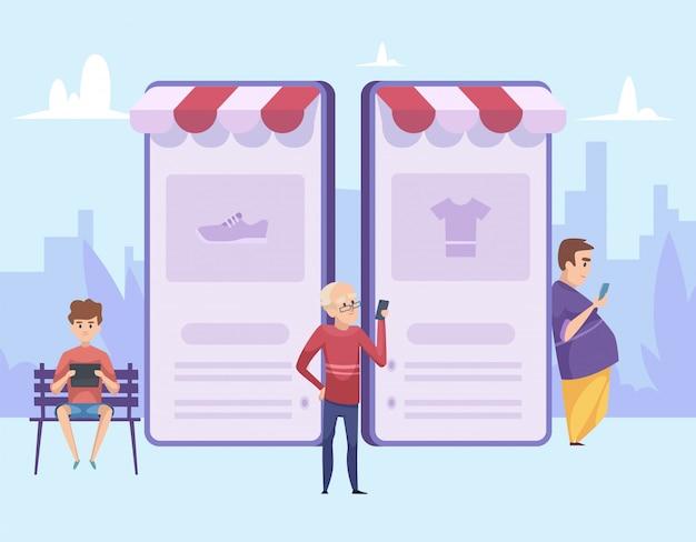 Hombre de compras. ilustración de compras en línea. hombres de dibujos animados con teléfonos inteligentes