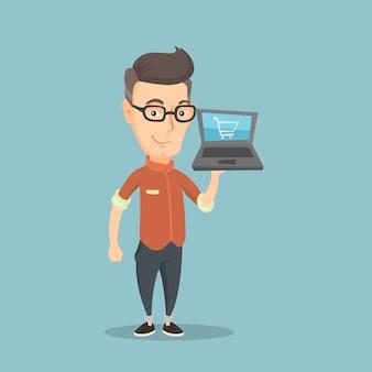 Hombre de compras en línea ilustración vectorial.