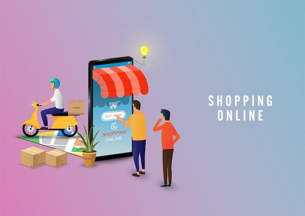 Hombre de compras en línea con smartphone. aplicación móvil, compras entrega en línea. concepto de marketing