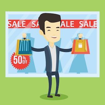 Hombre de compras en venta ilustración vectorial.