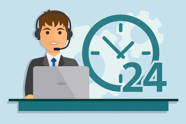 Hombre con la computadora usando auriculares