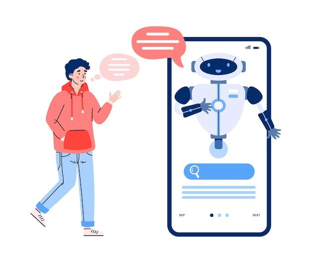 El hombre se comunica con el chatbot a través de la ilustración de vector de dibujos animados de teléfono aislado