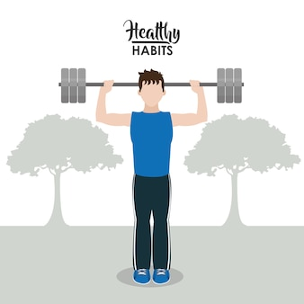 Hombre con concepto de dibujos animados de hábitos saludables