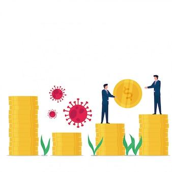 El hombre de concepto plano de negocios da monedas a otros para construir una pila de monedas después de que termina el virus corona.