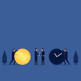 Hombre de concepto de vector plano empresarial empuje moneda y reloj para metáfora de intercambio de tiempo valioso.