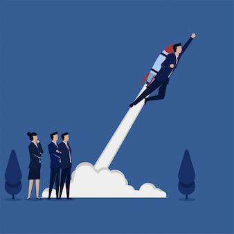 Hombre de concepto vector plano empresarial volar con cohete en la metáfora posterior de rápido crecimiento.