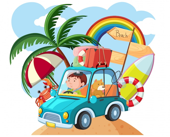 Hombre conduciendo a la playa