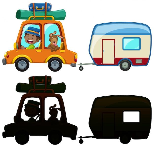 Hombre conduciendo vagones y silueta