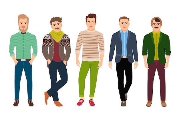 Hombre confiado de la moda del vector en la ropa casual aislada