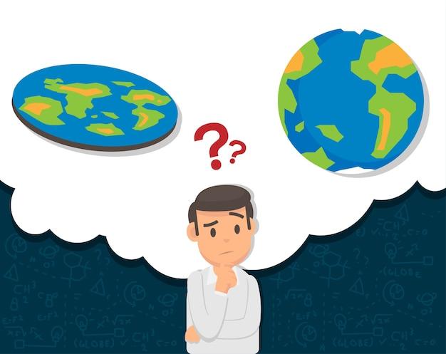 Hombre confundir acerca de la teoría de la tierra plana o globo
