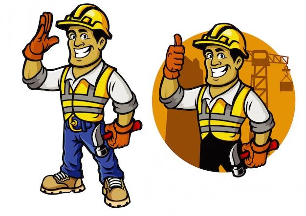 Hombre de conjunto de mascota de trabajador de construcción