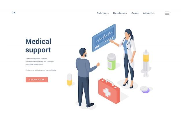Hombre consultar con doctora. ilustración