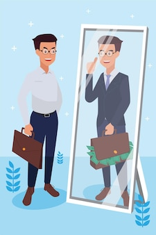 El hombre corporativo feliz hizo su trabajo como visión y misión y celebrando, el éxito del liderazgo y el concepto de progreso profesional, ilustración plana
