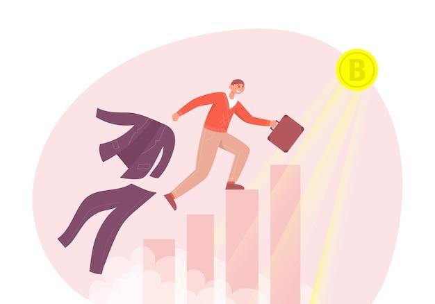 El hombre corre las escaleras hacia el dinero virtual de criptomoneda de negocios de inversión de conceptos de bitcoin de oro