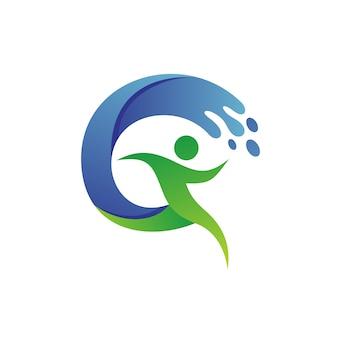 Hombre corriendo con agua olas logo vector