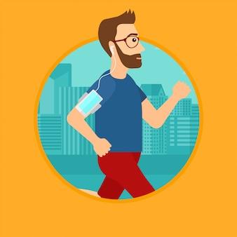 Hombre corriendo con auriculares y teléfono inteligente.