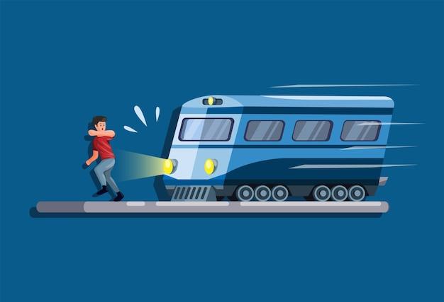 Hombre corriendo evitando ser atropellado por un concepto de escena de tren en dibujos animados