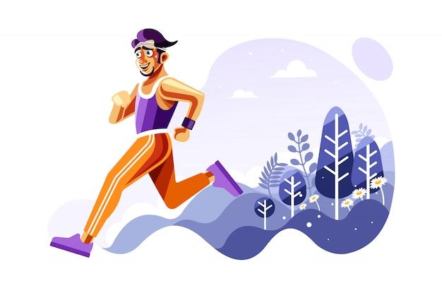 Hombre corriendo fuera de ilustración vectorial
