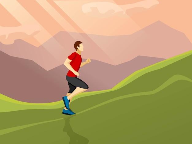 Hombre corriendo icono plana