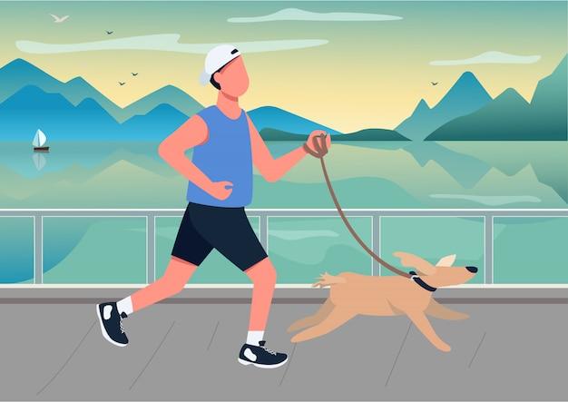 Hombre corriendo con perro en la ilustración de color frente al mar