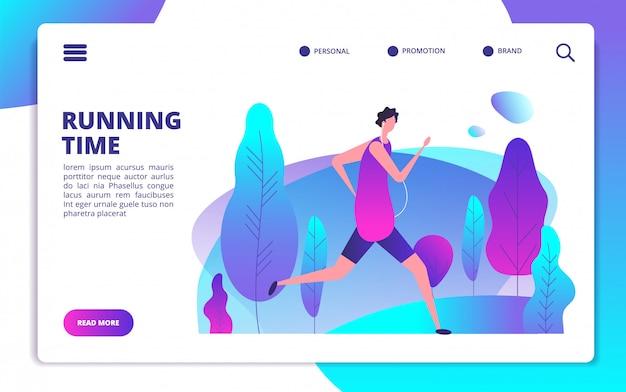 Hombre corriendo en la plantilla del sitio web del parque