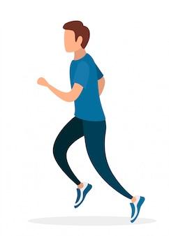 Hombre corriendo en ropa deportiva. sin personaje de dibujos animados de cara. ilustración sobre fondo blanco
