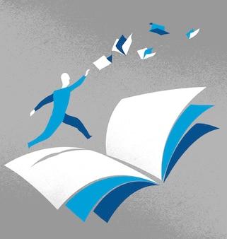 Hombre corriendo sobre un libro