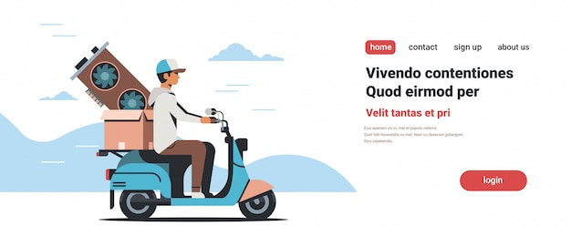 Hombre courier riding scooter con tarjeta de video crypto currency mining