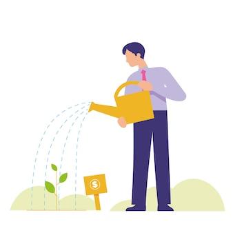 El hombre crece la planta como un buen crecimiento de la inversión.