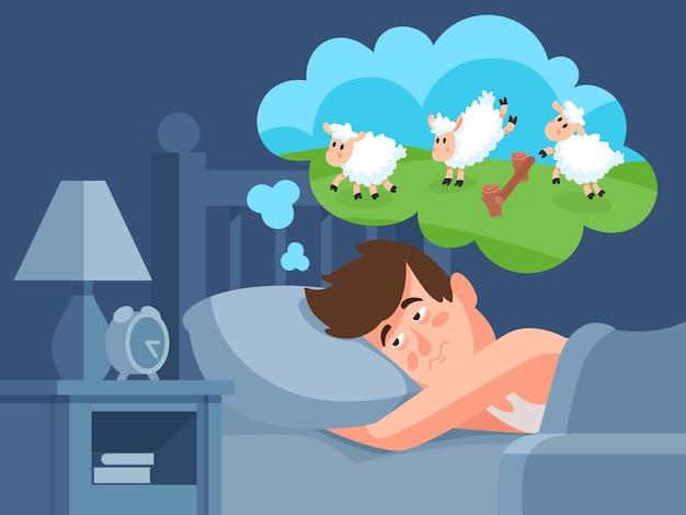 El hombre cuenta ovejas para dormir.