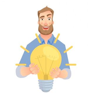 El hombre da la lámpara