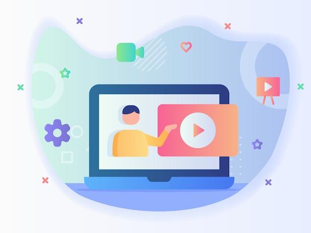 El hombre da un video tutorial en línea en un curso de video de tutoría de concepto de pantalla de computadora portátil con estilo plano.