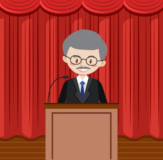 Hombre dando un discurso en un escenario