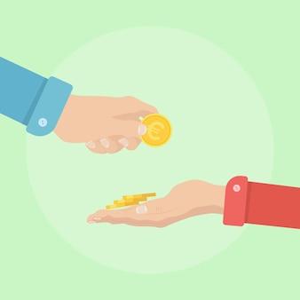 Hombre dando ilustración de dinero