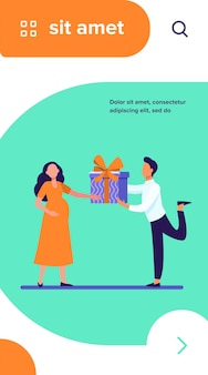 Hombre dando regalo a su esposa embarazada