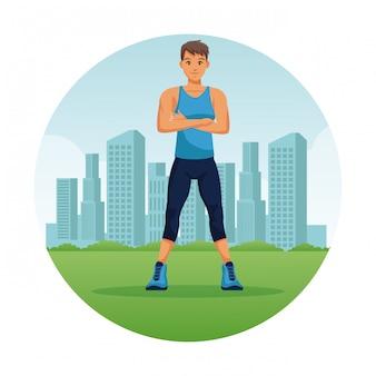Hombre de gimnasio en la ciudad de dibujos animados icono redondo