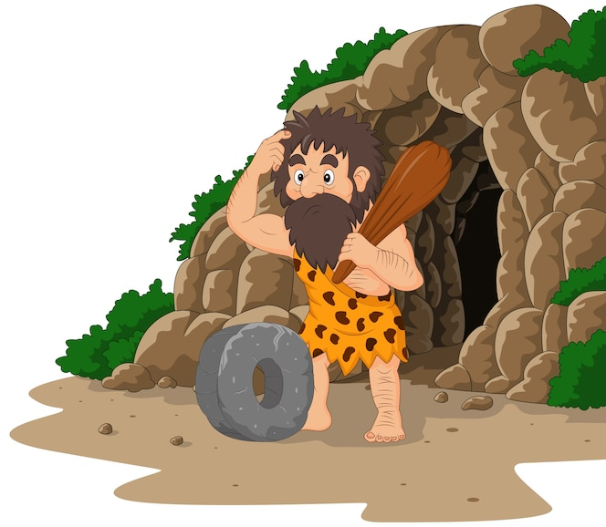 Hombre de las cavernas de dibujos animados inventando rueda de piedra con fondo de cueva