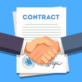 Hombre de negocios agitando las manos sobre un contrato firmado