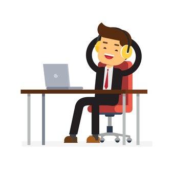 Hombre de negocios con computadora de escritorio escuchar música