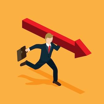 Hombre de negocios con flecha roja